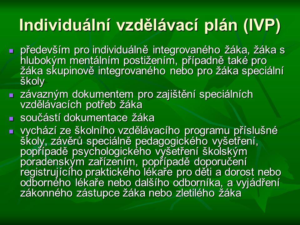Individuální vzdělávací plán (IVP) především pro individuálně integrovaného žáka, žáka s hlubokým mentálním postižením, případně také pro žáka skupino