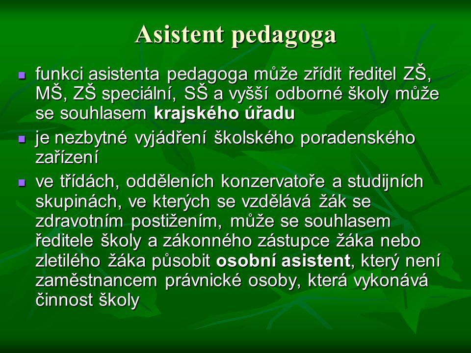 Asistent pedagoga funkci asistenta pedagoga může zřídit ředitel ZŠ, MŠ, ZŠ speciální, SŠ a vyšší odborné školy může se souhlasem krajského úřadu funkc