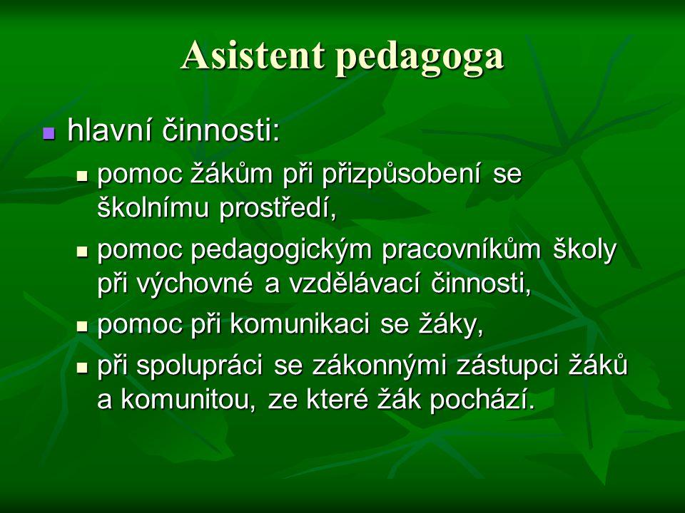 Asistent pedagoga hlavní činnosti: hlavní činnosti: pomoc žákům při přizpůsobení se školnímu prostředí, pomoc žákům při přizpůsobení se školnímu prost