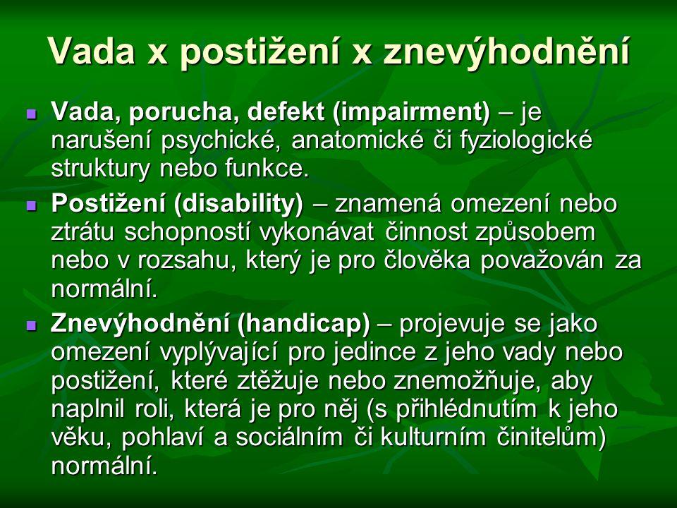 Vada x postižení x znevýhodnění Vada, porucha, defekt (impairment) – je narušení psychické, anatomické či fyziologické struktury nebo funkce. Vada, po