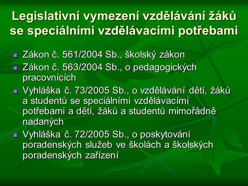 Legislativní vymezení vzdělávání žáků se speciálními vzdělávacími potřebami Zákon č. 561/2004 Sb., školský zákon Zákon č. 561/2004 Sb., školský zákon