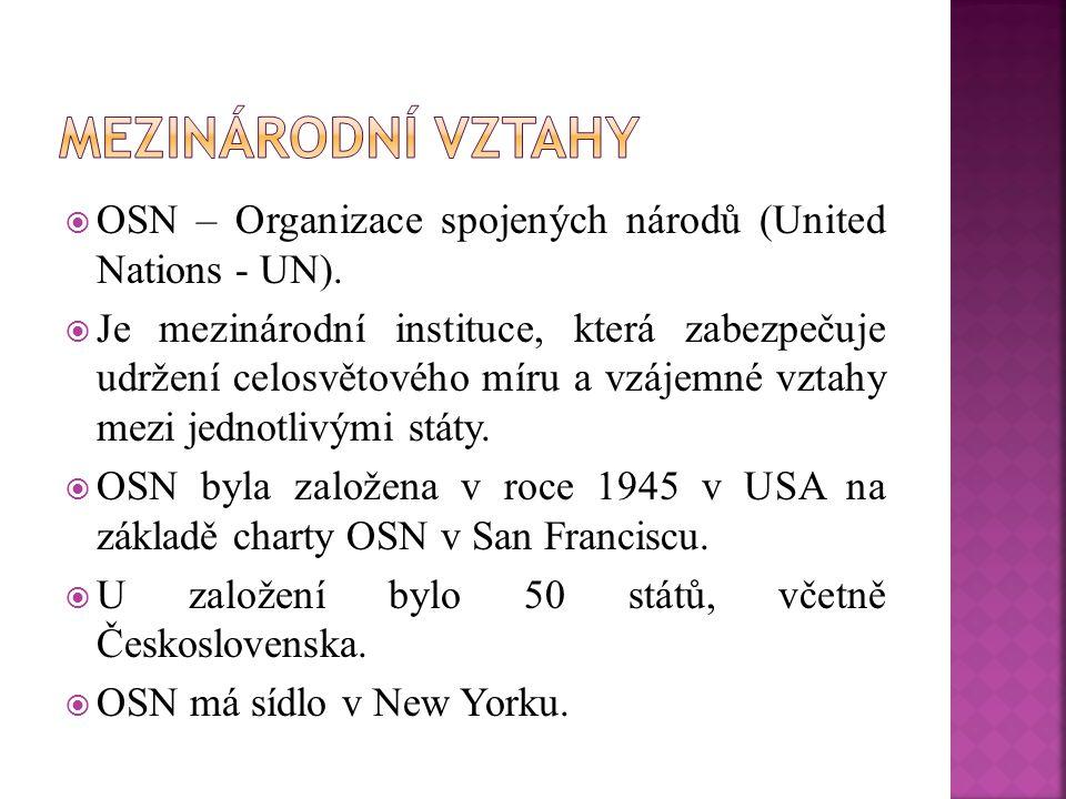  OSN – Organizace spojených národů (United Nations - UN).  Je mezinárodní instituce, která zabezpečuje udržení celosvětového míru a vzájemné vztahy