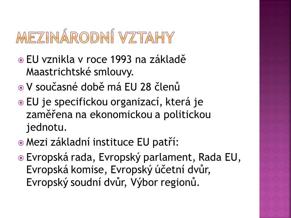  EU vznikla v roce 1993 na základě Maastrichtské smlouvy.  V současné době má EU 28 členů  EU je specifickou organizací, která je zaměřena na ekono