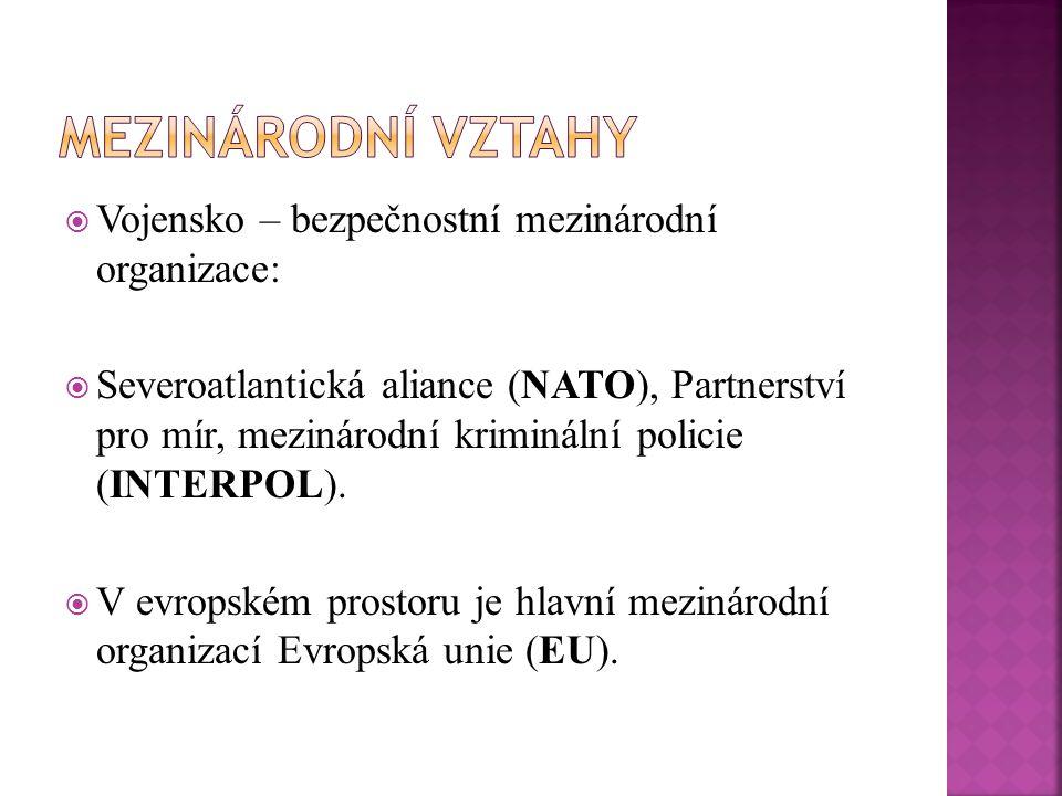  Vojensko – bezpečnostní mezinárodní organizace:  Severoatlantická aliance (NATO), Partnerství pro mír, mezinárodní kriminální policie (INTERPOL). 
