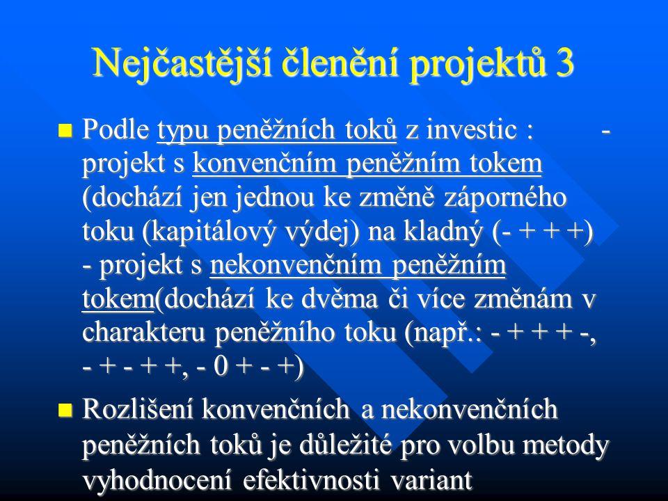 Nejčastější členění projektů 2 Podle stupně závislosti – rozlišení vzájemně se nevylučujících a vylučujících projektů, které se nemohou uskutečnit zároveň (např.