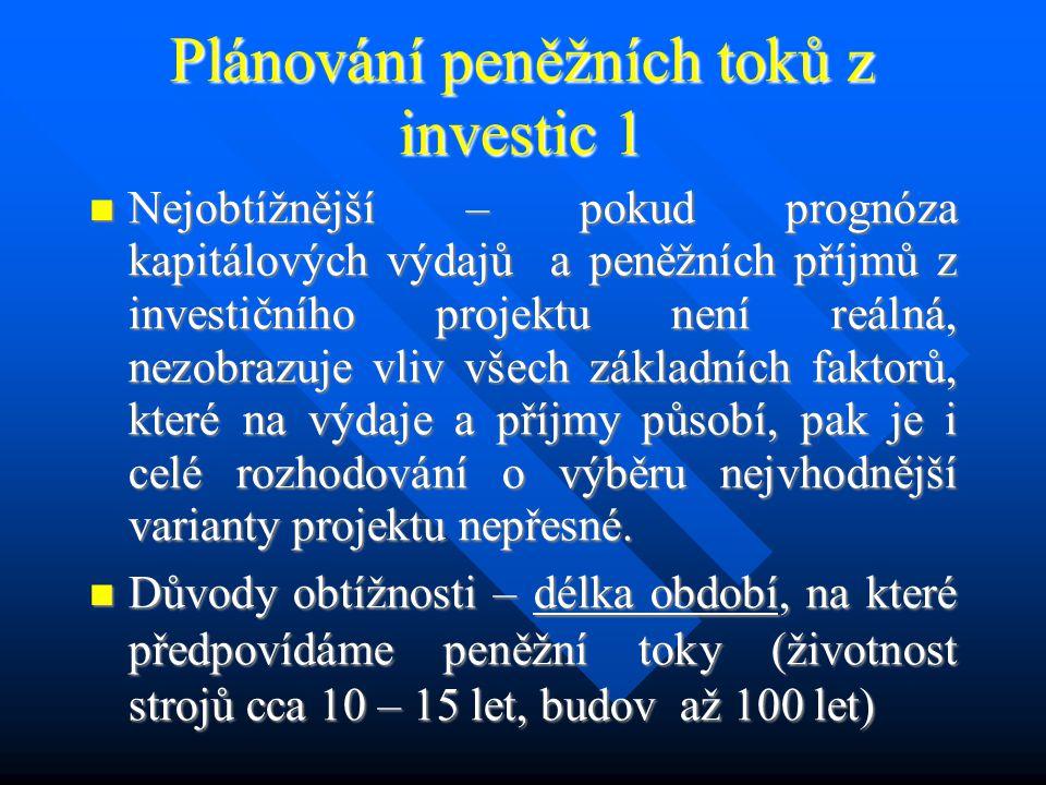 Nejčastější členění projektů 3 Podle typu peněžních toků z investic : - projekt s konvenčním peněžním tokem (dochází jen jednou ke změně záporného toku (kapitálový výdej) na kladný (- + + +) - projekt s nekonvenčním peněžním tokem(dochází ke dvěma či více změnám v charakteru peněžního toku (např.: - + + + -, - + - + +, - 0 + - +) Podle typu peněžních toků z investic : - projekt s konvenčním peněžním tokem (dochází jen jednou ke změně záporného toku (kapitálový výdej) na kladný (- + + +) - projekt s nekonvenčním peněžním tokem(dochází ke dvěma či více změnám v charakteru peněžního toku (např.: - + + + -, - + - + +, - 0 + - +) Rozlišení konvenčních a nekonvenčních peněžních toků je důležité pro volbu metody vyhodnocení efektivnosti variant Rozlišení konvenčních a nekonvenčních peněžních toků je důležité pro volbu metody vyhodnocení efektivnosti variant