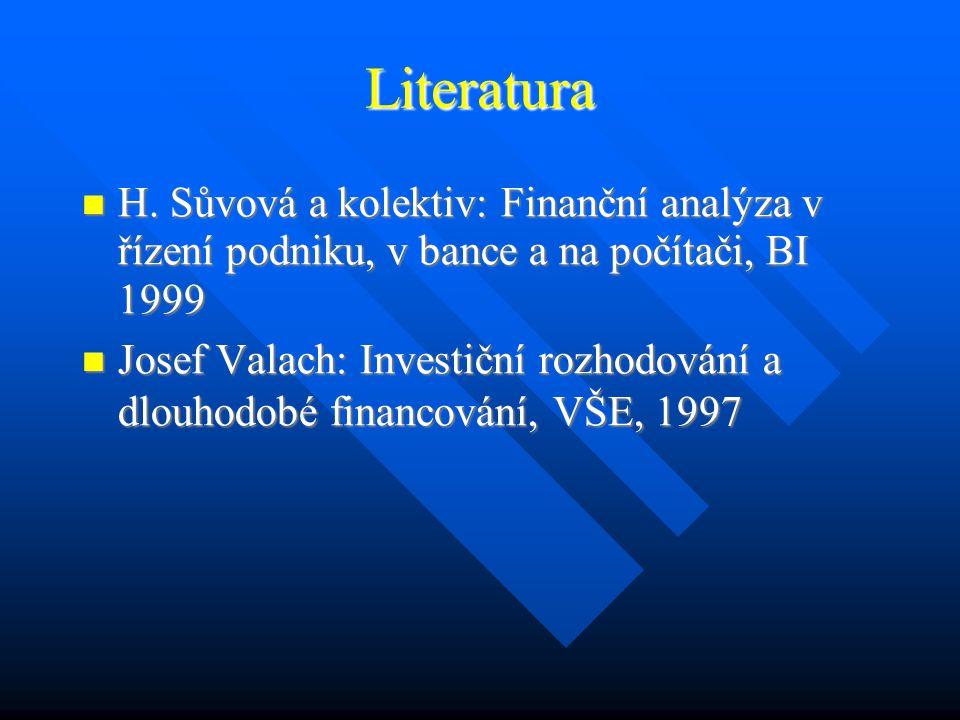Hodnocení investičních projektů BIVŠ, Praha Ing.