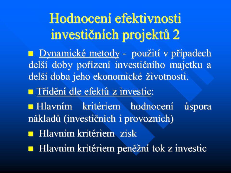 Hodnocení efektivnosti investičních projektů 1 Prognóza peněžních příjmů a kapitálových výdajů je výchozím základem pro hodnocení efektivnosti investičních variant pomocí různých metod.