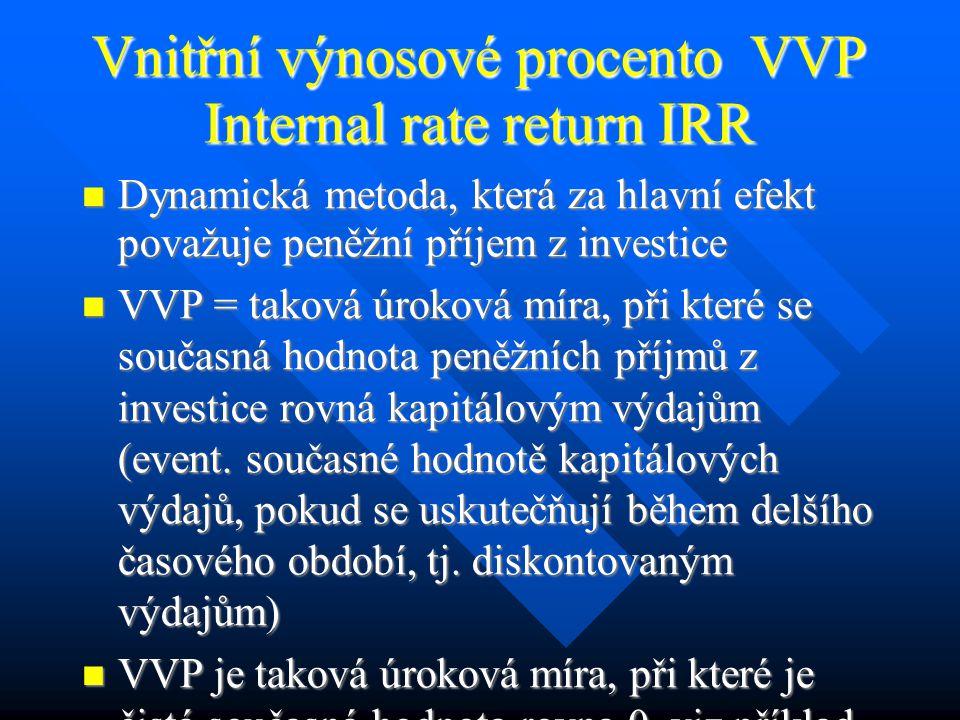 Interpretace indexu ziskovosti Pokud je ČSH kladná, pak I z je větší než 1 a inv.