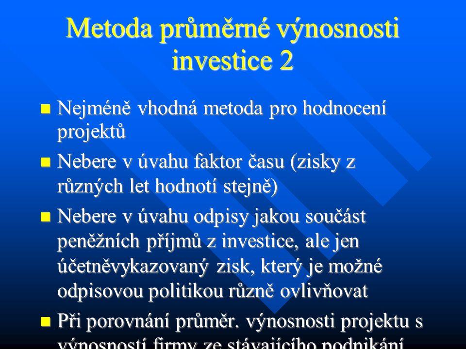 Metoda průměrné výnosnosti investice 1 Jednoduchá metoda považující za efekt z investice zisk, který investice přináší.