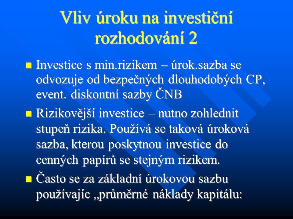 Vliv úroku na investiční rozhodování 1 Úrok = cena zapůjčených peněz Úrok = cena zapůjčených peněz Při růstu úroků dochází k poklesu investic.