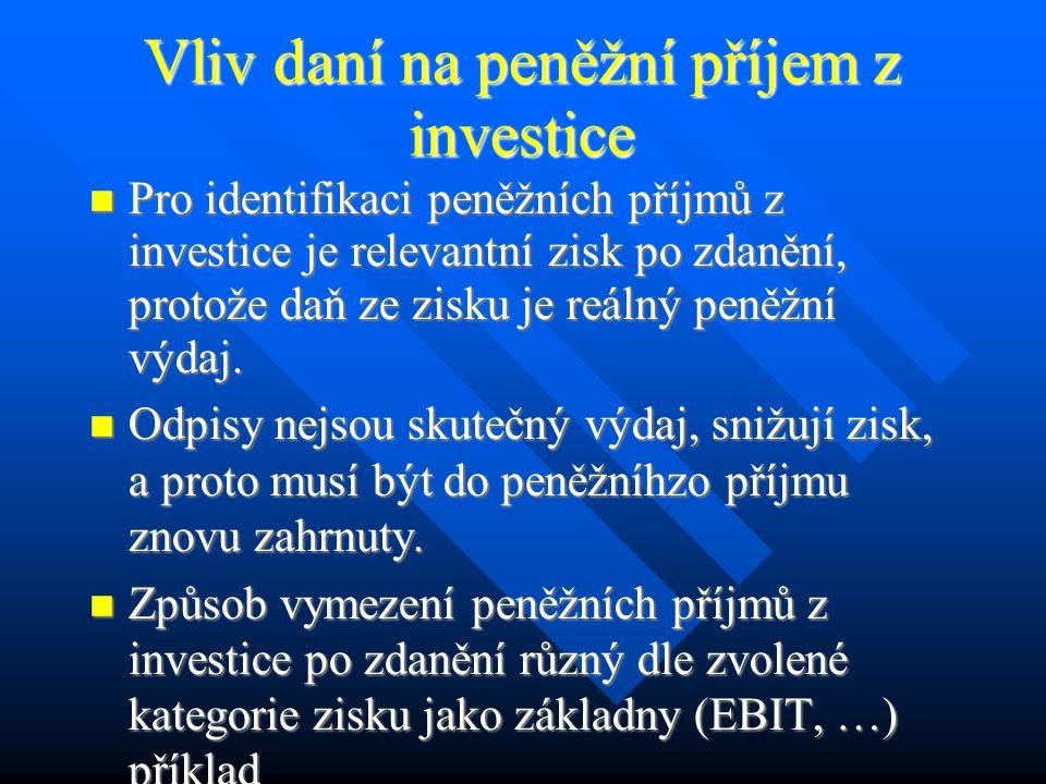 Vliv daní na investiční rozhodování Různý stupeň a systém zdanění podnikových příjmů v různých zemích – např.