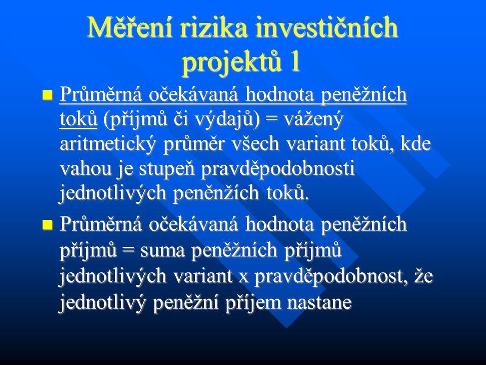 Riziko investičních projektů Určení kritických faktorů rizika investičního projektu.