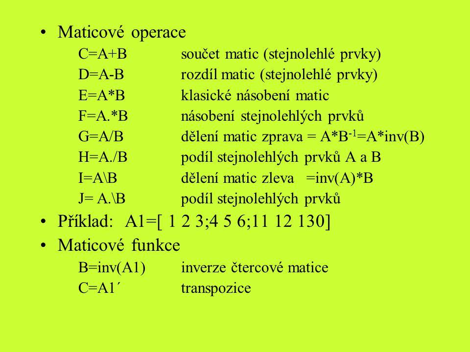 det(A1)determinat čtvercové matice E=sum(A1)-matice: vektor,prvky součtem sloupců -vektor: číslo=součet prvků vektoru F=sign(A1)vrací matici stejného řádu s prvky: 1je-li prvek > 0 -1je-li prvek < 0 0je-li prvek = 0 G=max(A1)-matice: vektor s nejv.