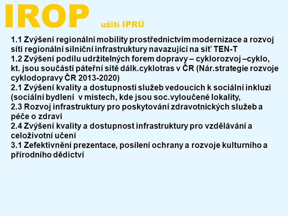IROP užití IPRÚ 1.1 Zvýšení regionální mobility prostřednictvím modernizace a rozvoj sítí regionální silniční infrastruktury navazující na síť TEN-T 1