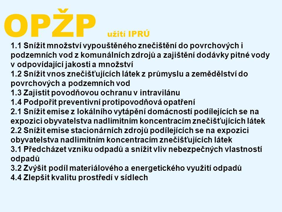 OPŽP užití IPRÚ 1.1 Snížit množství vypouštěného znečištění do povrchových i podzemních vod z komunálních zdrojů a zajištění dodávky pitné vody v odpo