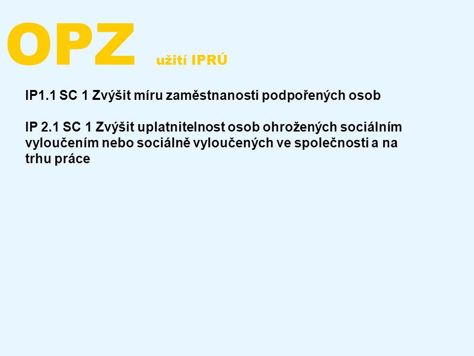 OPZ užití IPRÚ IP1.1 SC 1 Zvýšit míru zaměstnanosti podpořených osob IP 2.1 SC 1 Zvýšit uplatnitelnost osob ohrožených sociálním vyloučením nebo sociá