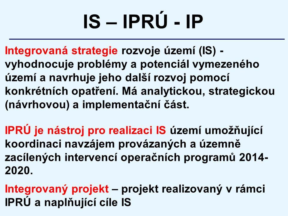 Integrovaná strategie rozvoje území (IS) - vyhodnocuje problémy a potenciál vymezeného území a navrhuje jeho další rozvoj pomocí konkrétních opatření.