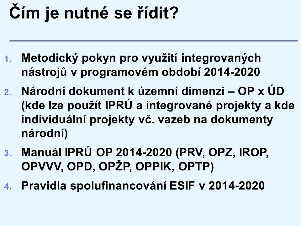 Čím je nutné se řídit? 1. Metodický pokyn pro využití integrovaných nástrojů v programovém období 2014-2020 2. Národní dokument k územní dimenzi – OP