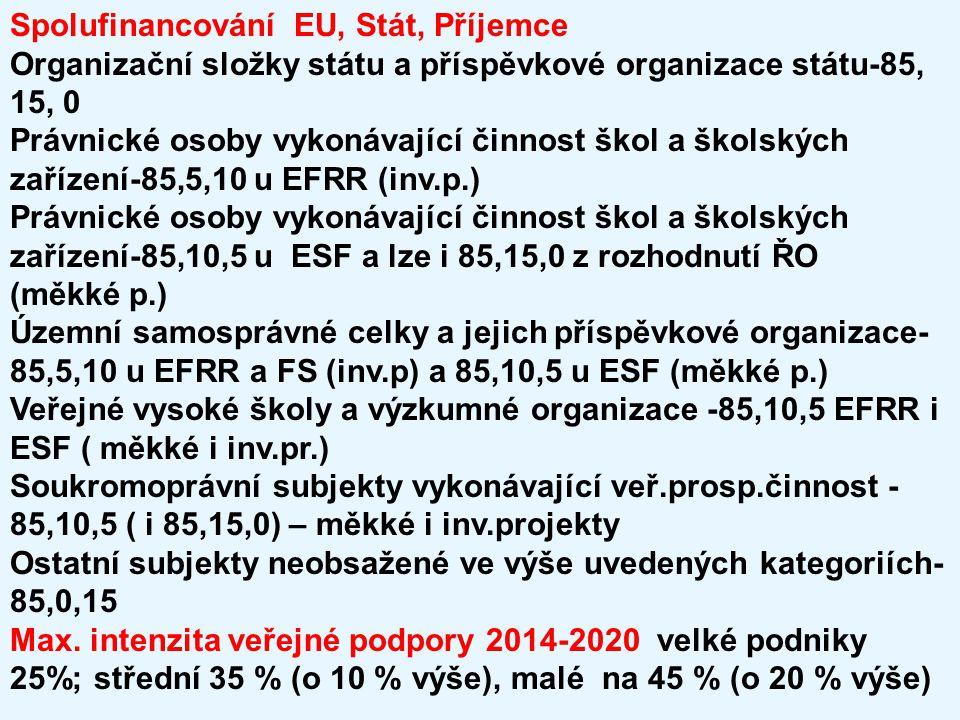 Spolufinancování EU, Stát, Příjemce Organizační složky státu a příspěvkové organizace státu-85, 15, 0 Právnické osoby vykonávající činnost škol a škol