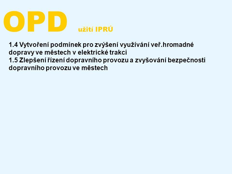 OPD užití IPRÚ 1.4 Vytvoření podmínek pro zvýšení využívání veř.hromadné dopravy ve městech v elektrické trakci 1.5 Zlepšení řízení dopravního provozu