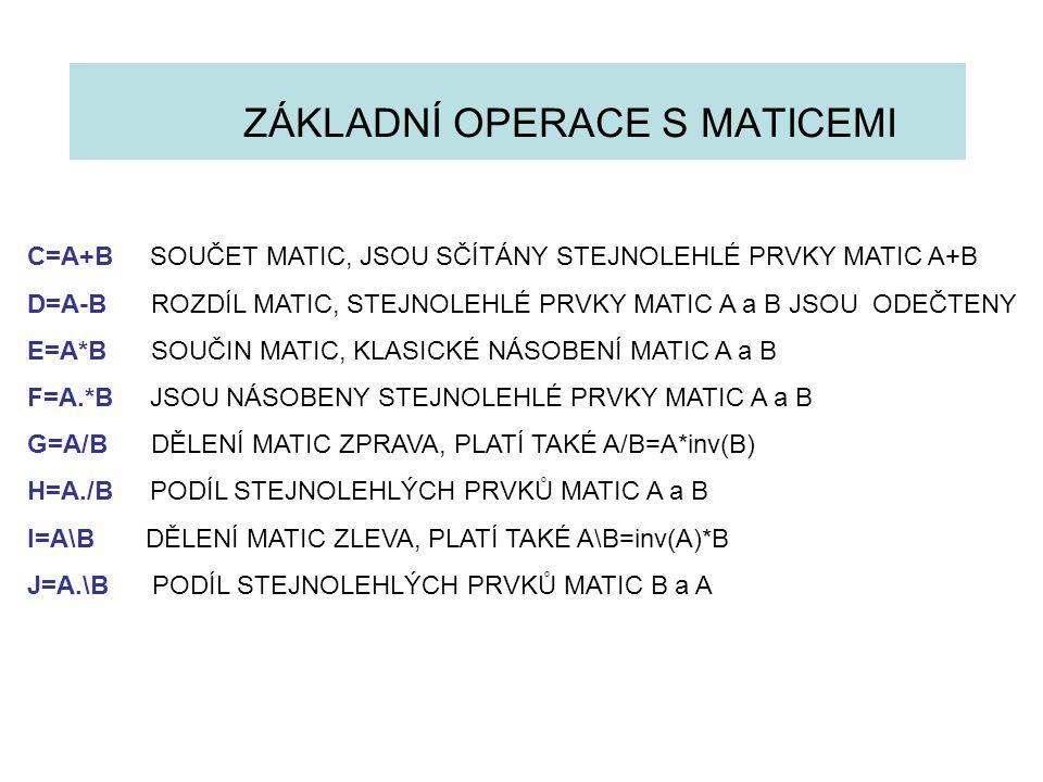 ZÁKLADNÍ OPERACE S MATICEMI C=A+B SOUČET MATIC, JSOU SČÍTÁNY STEJNOLEHLÉ PRVKY MATIC A+B D=A-B ROZDÍL MATIC, STEJNOLEHLÉ PRVKY MATIC A a B JSOU ODEČTE
