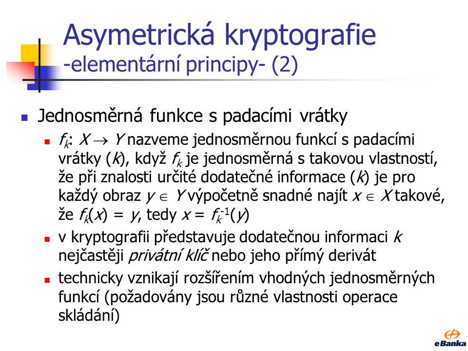 Asymetrická kryptografie -elementární principy- (1) Jednosměrná funkce f: X  Y nazveme jednosměrnou funkcí, když: pro každé x  X je výpočetně snadné