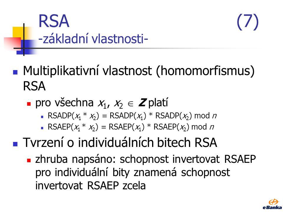 RSA(6) -s využitím CRT- Základní důvod použití: rychlost dosahuje se průměrně zhruba 4násobného zrychlení odšifrovací (podepisovací) transformace výho