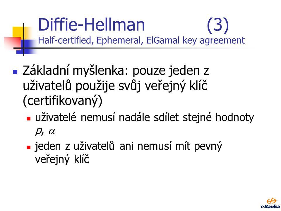 Diffie-Hellman(2) Postup dohody na klíči: uživatel A získá z důvěryhodného zdroje veřejný klíč y B spočítá K A = y B xA mod p uživatel B získá z důvěr