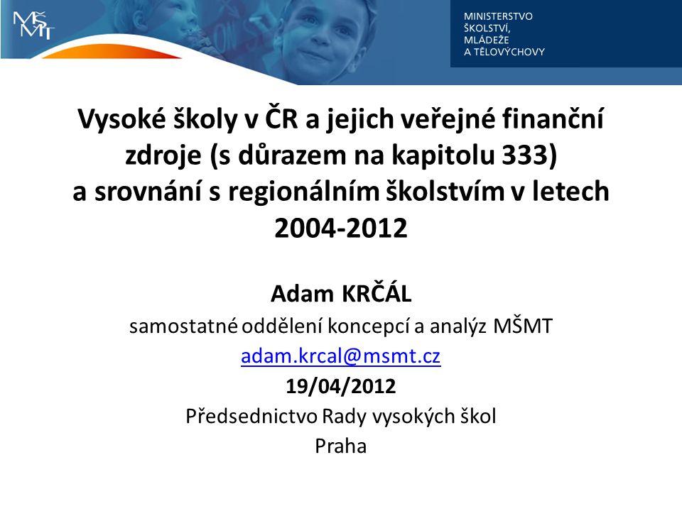 Vysoké školy v ČR a jejich veřejné finanční zdroje (s důrazem na kapitolu 333) a srovnání s regionálním školstvím v letech 2004-2012 Adam KRČÁL samost