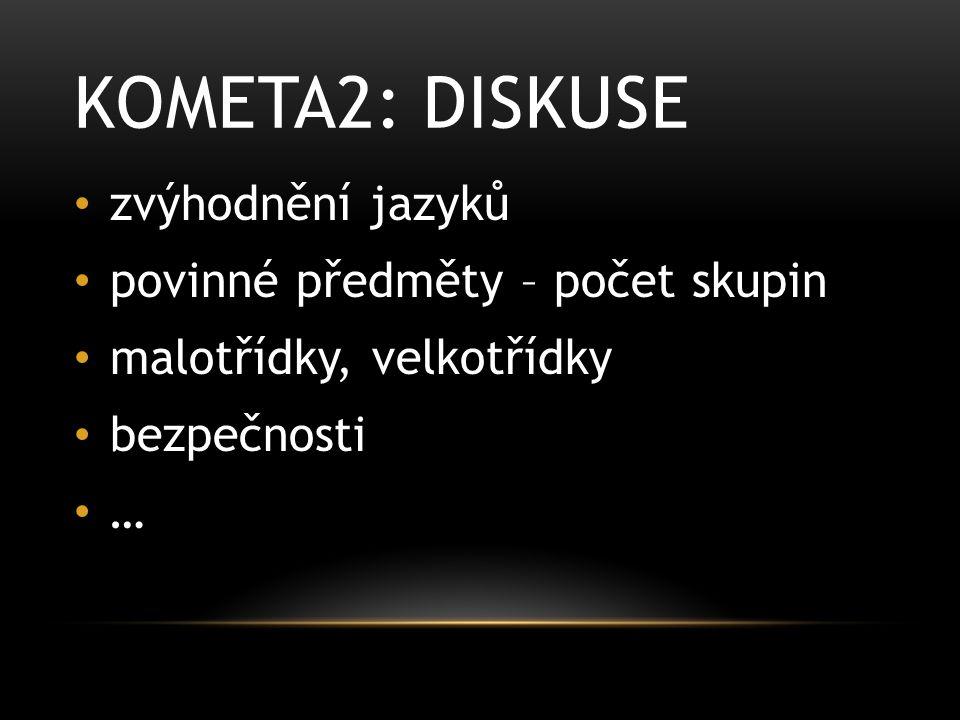 KOMETA2: DISKUSE zvýhodnění jazyků povinné předměty – počet skupin malotřídky, velkotřídky bezpečnosti …