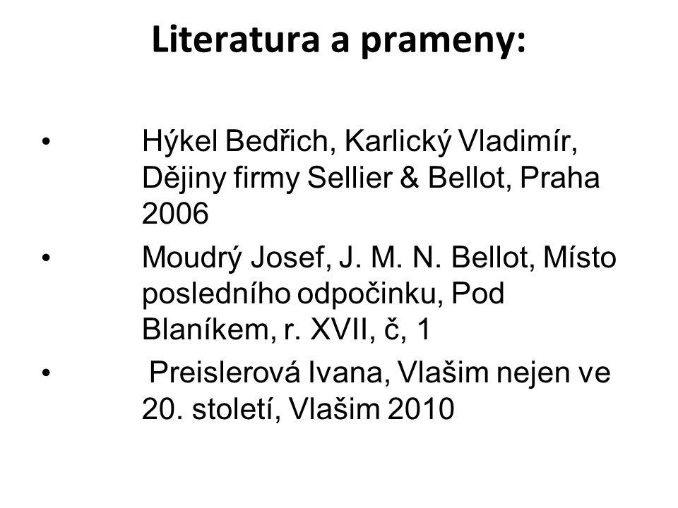 Literatura a prameny: Hýkel Bedřich, Karlický Vladimír, Dějiny firmy Sellier & Bellot, Praha 2006 Moudrý Josef, J.