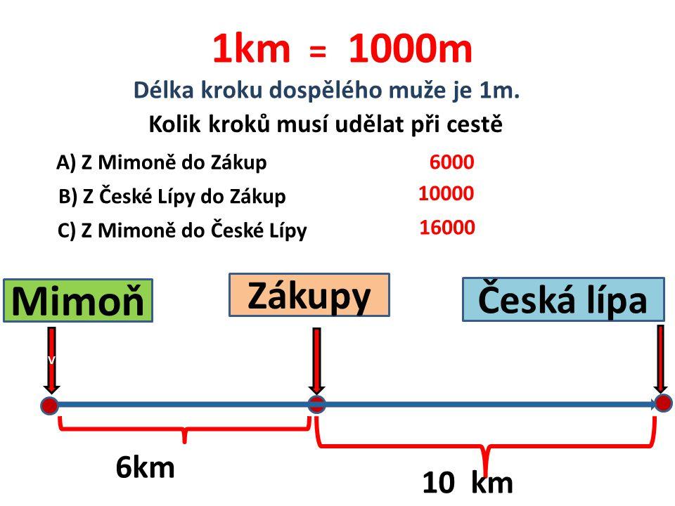 v Mimoň Zákupy Česká lípa 6km 10 km 1km = 1000m Délka kroku dospělého muže je 1m. Kolik kroků musí udělat při cestě A) Z Mimoně do Zákup B) Z České Lí