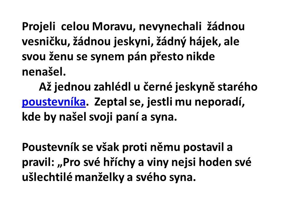 Projeli celou Moravu, nevynechali žádnou vesničku, žádnou jeskyni, žádný hájek, ale svou ženu se synem pán přesto nikde nenašel. Až jednou zahlédl u č