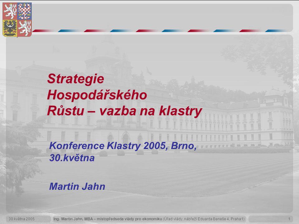 Ing. Martin Jahn, MBA – místopředseda vlády pro ekonomiku (Úřad vlády, nábřeží Eduarda Beneše 4, Praha1)30.května 20051 Strategie Hospodářského Růstu