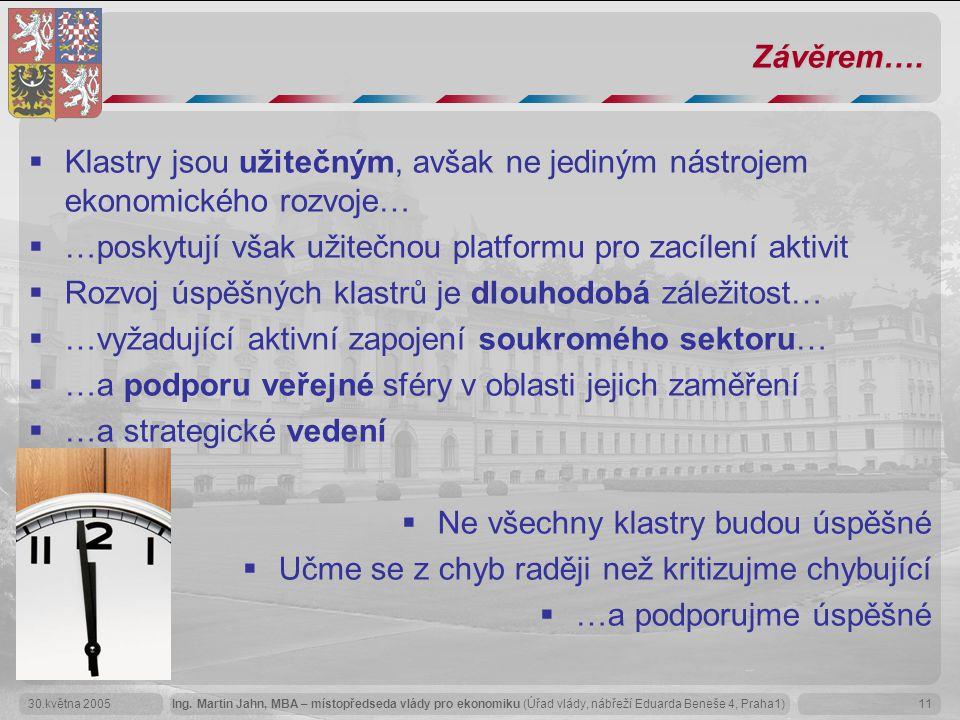 Ing. Martin Jahn, MBA – místopředseda vlády pro ekonomiku (Úřad vlády, nábřeží Eduarda Beneše 4, Praha1)30.května 200511 Závěrem….  Klastry jsou užit