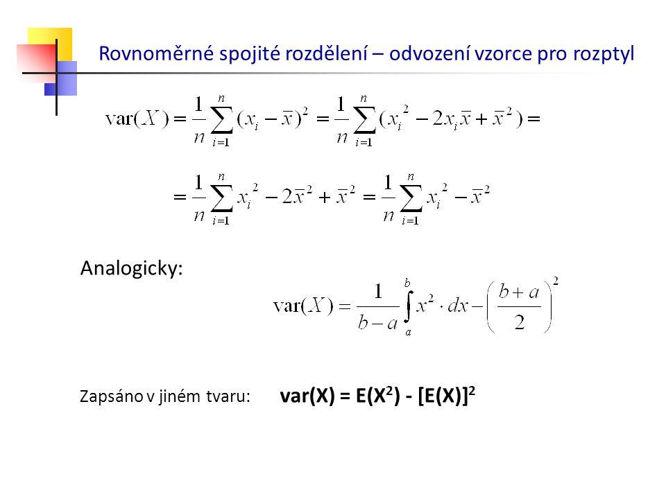 Rovnoměrné spojité rozdělení – odvození vzorce pro rozptyl Analogicky: Zapsáno v jiném tvaru: var(X) = E(X 2 ) - [E(X)] 2