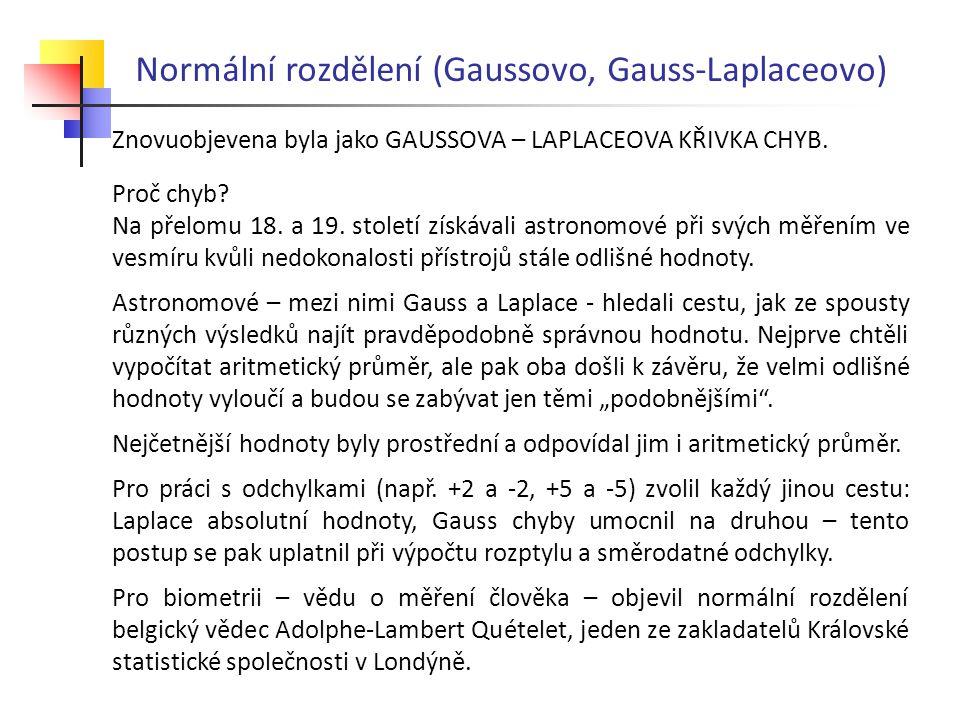 Normální rozdělení (Gaussovo, Gauss-Laplaceovo) Znovuobjevena byla jako GAUSSOVA – LAPLACEOVA KŘIVKA CHYB. Proč chyb? Na přelomu 18. a 19. století zís
