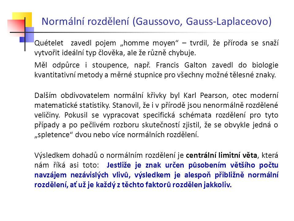 """Normální rozdělení (Gaussovo, Gauss-Laplaceovo) Quételet zavedl pojem """"homme moyen"""" – tvrdil, že příroda se snaží vytvořit ideální typ člověka, ale že"""