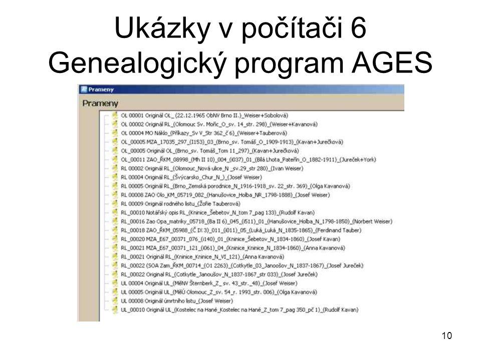 Ukázky v počítači 6 Genealogický program AGES 10