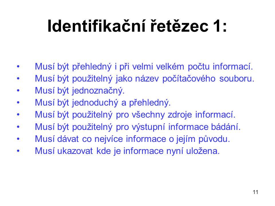 11 Identifikační řetězec 1: Musí být přehledný i při velmi velkém počtu informací. Musí být použitelný jako název počítačového souboru. Musí být jedno