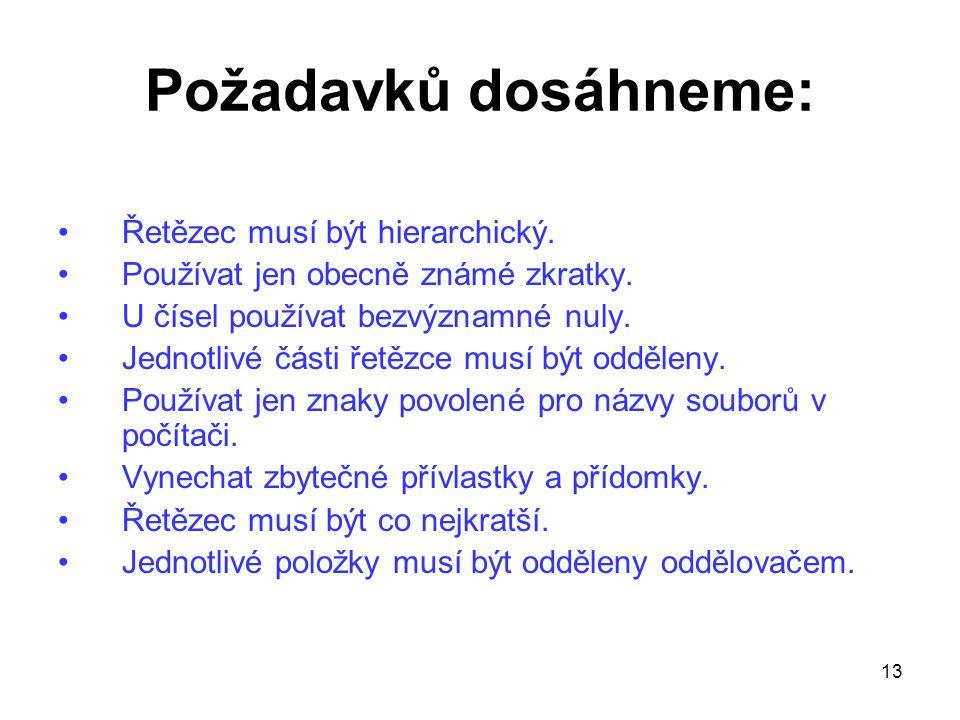 13 Požadavků dosáhneme: Řetězec musí být hierarchický. Používat jen obecně známé zkratky. U čísel používat bezvýznamné nuly. Jednotlivé části řetězce
