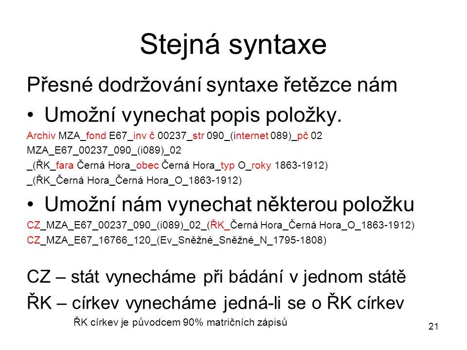 Stejná syntaxe Přesné dodržování syntaxe řetězce nám Umožní vynechat popis položky. Archiv MZA_fond E67_inv č 00237_str 090_(internet 089)_pč 02 MZA_E