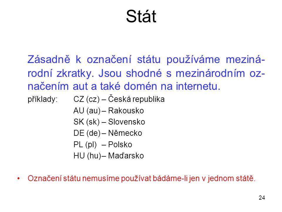 Stát Zásadně k označení státu používáme meziná- rodní zkratky. Jsou shodné s mezinárodním oz- načením aut a také domén na internetu. příklady: CZ (cz)