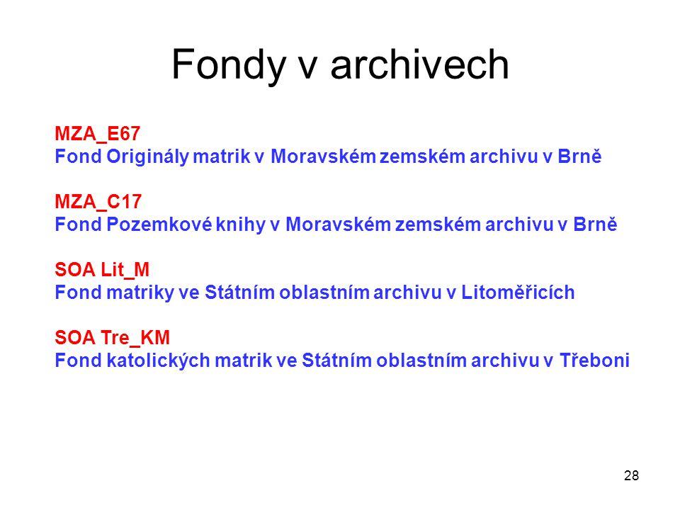 Fondy v archivech 28 MZA_E67 Fond Originály matrik v Moravském zemském archivu v Brně MZA_C17 Fond Pozemkové knihy v Moravském zemském archivu v Brně