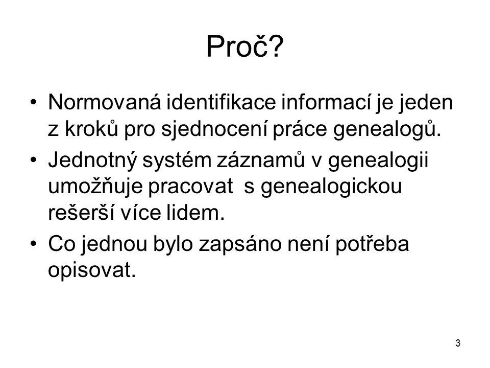 Proč? Normovaná identifikace informací je jeden z kroků pro sjednocení práce genealogů. Jednotný systém záznamů v genealogii umožňuje pracovat s genea
