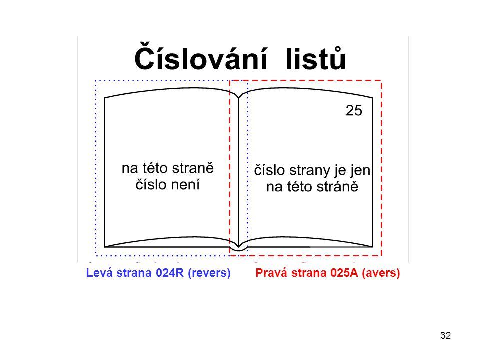 32 Levá strana 024R (revers) Pravá strana 025A (avers)