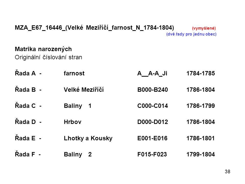 38 MZA_E67_16446_(Velké Meziříčí_farnost_N_1784-1804) (vymyšlené) (dvě řady pro jednu obec) Matrika narozených Originální číslování stran Řada A -farn