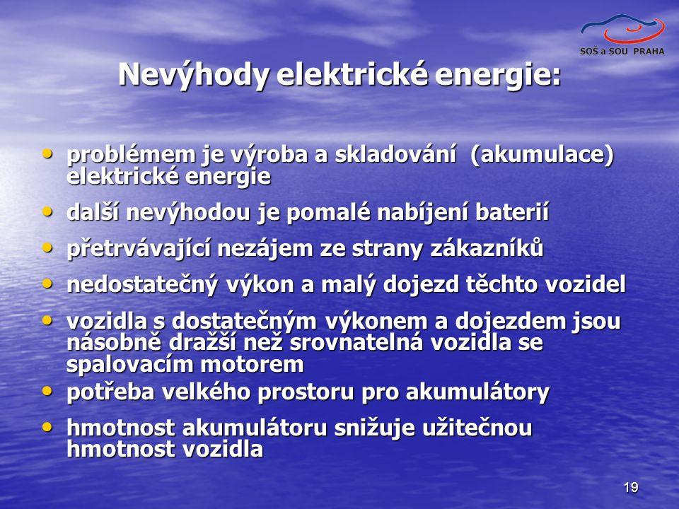 19 Nevýhody elektrické energie: problémem je výroba a skladování (akumulace) elektrické energie problémem je výroba a skladování (akumulace) elektrické energie další nevýhodou je pomalé nabíjení baterií další nevýhodou je pomalé nabíjení baterií přetrvávající nezájem ze strany zákazníků přetrvávající nezájem ze strany zákazníků nedostatečný výkon a malý dojezd těchto vozidel nedostatečný výkon a malý dojezd těchto vozidel vozidla s dostatečným výkonem a dojezdem jsou násobně dražší než srovnatelná vozidla se spalovacím motorem vozidla s dostatečným výkonem a dojezdem jsou násobně dražší než srovnatelná vozidla se spalovacím motorem potřeba velkého prostoru pro akumulátory potřeba velkého prostoru pro akumulátory hmotnost akumulátoru snižuje užitečnou hmotnost vozidla hmotnost akumulátoru snižuje užitečnou hmotnost vozidla