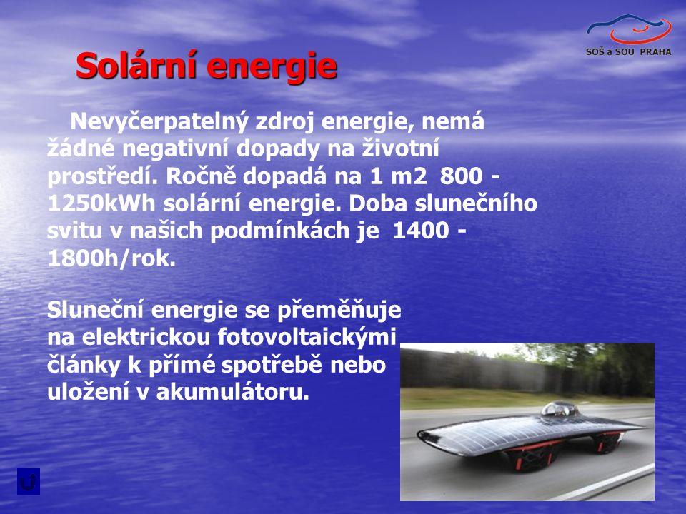 30 Solární energie Nevyčerpatelný zdroj energie, nemá žádné negativní dopady na životní prostředí. Ročně dopadá na 1 m2 800 - 1250kWh solární energie.